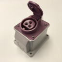 GEWISS IEC309 BTS 10° SOCKET SURFACE MTG IP44 32AMPS VIOLET 20-25VAC 50-60Hz 3P (no H)
