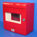 GEWISS 42RV RED EMERGENCY ENCLOSURE, FITTED WITH DIN RAIL 8MODS, IP55 SURFACE MTG