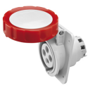 GEWISS IEC309 HP 10° SOCKET FLUSH MTG IP66/67 RED 415V 6H 16AMPS 3P+E