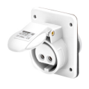 GEWISS IEC309 BTS 10° SOCKET FLUSH MTG IP44 16AMPS WHITE 40-50VAC 50-60Hz 2P 12H