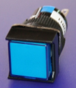 16mm SQUARE PUSHBUTTON BLUE, 1x C/O  MOMENTARY