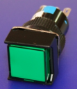 16mm SQUARE PUSHBUTTON GREEN, 1x C/O  MOMENTARY