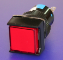 16mm SQUARE PUSHBUTTON RED, 1x C/O  MOMENTARY