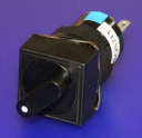 16mm SQUARE SELECTOR SWITCH, KNOB BLACK, 2-POS MAINTAINED 1NO/1NC
