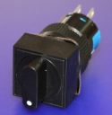 16mm SQUARE SELECTOR SWITCH, KNOB BLACK, 3-POS MAINTAINED 2NO/2NC