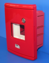 GEWISS 42RV RED EMERGENCY ENCLOSURE, FITTED WITH DIN RAIL 4MODS, IP55 FLUSH MTG