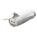 GEWISS IEC309 BTS STR CONNECTOR IP44 16AMPS WHITE 20-25VDC/40-50VDC 2P 10H