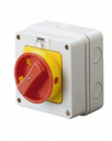 GEWISS 70RT ISOLATOR IN PLASTIC ENCL IP65 - RED/YLW HANDLE 3P 16A (AC21A) 114x114x71.5mm *** WHILE STOCKS LAST ***