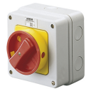 GEWISS 70RT ISOLATOR IN PLASTIC ENCL IP65 - RED/YLW HANDLE 3P 32A (AC21A) 114x114x71.5mm *** WHILE STOCKS LAST ***