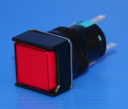 16mm SQUARE ILLUM PUSHBUTTON RED, 1x C/O  MOMENTARY, 12VAC/DC LED