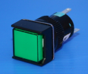 16mm SQUARE ILLUM PUSHBUTTON GREEN, 1CO MAINTAINED, 24VAC/DC LED