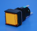 16mm SQUARE ILLUM PUSHBUTTON YELLOW, 1x C/O  MAINTAINED, 24VAC/DC LED