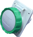 GEWISS IEC309 HP 10° SOCKET FLUSH MTG IP66/67 GREEN >50V >300-500HZ 2H 16AMPS 2P+E