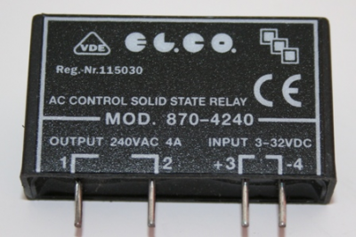 elco solid state relay, pcb mount, 240vac, 4a 3 32vdc, zero crossingelco solid state relay, pcb mount, 240vac, 4a 3 32vdc, zero crossing (triac) *** end of line product while stocks last *** electrical importing company