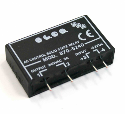 elco solid state relay, pcb mount, 240vac, 5a 10 32vdc, instant on