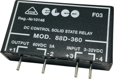 elco solid state relay, pcb mount, 60vdc, 3a 3 32vdc, (transistor